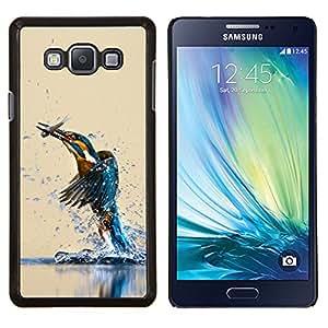 Qstar Arte & diseño plástico duro Fundas Cover Cubre Hard Case Cover para Samsung Galaxy A7 A7000 (Martín pescador del pájaro y de los pescados)