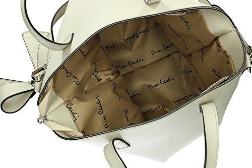 Tasche damen mit schultergurt PIERRE CARDIN weiß leder Made in Italy VN1172