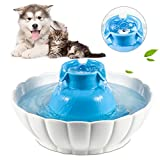 Super Silent Ceramic Pet Fountain for Suitable for Small and Medium Size Dogs or Cats, Sturdy Healthy Drinking Water Bowl (2.1L / 74 Oz) Automatic Electric Water Dispenser, Blue and White