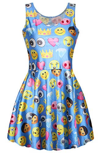 Pink Wind Shcool Girs 3D QQ Emoji Funny Pattern Print Short Skater Dress Blue
