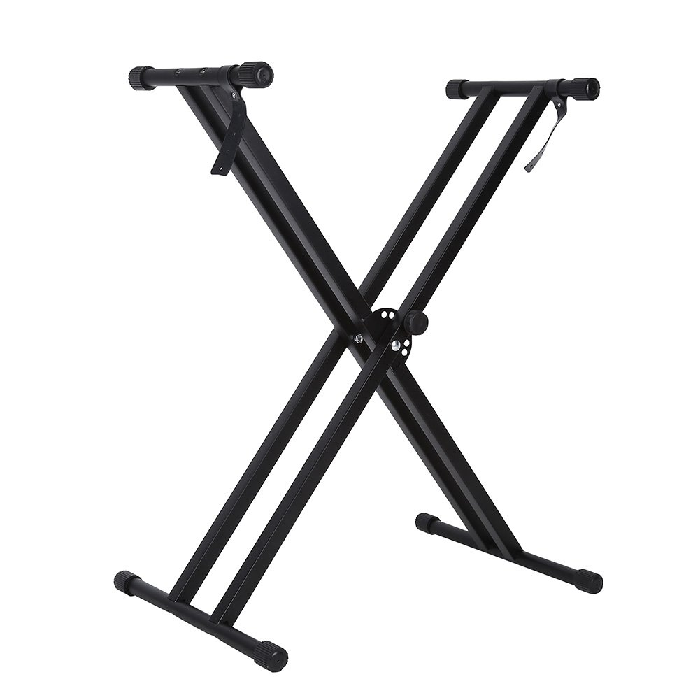 Keyboard Piano Stand,Portable X-Style Adjustable Keyboard Stand Bench Double Braced Music Electric Panio Holder(Black)