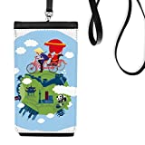 China Chinese Travel Cycle Rickshaws Temple Panda The Great Wall Culture Art Cute Faux Leather Smartphone Hanging Purse Black Phone Wallet Gift