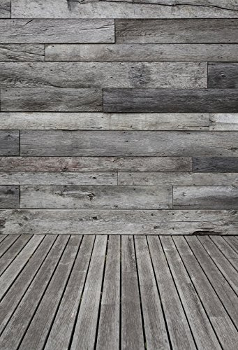 Yeele Wood Floor Backdrops 4x5ft /1.2 X 1.5M Light Gray and Brown Horizontal Stripes Wooden Board Adult Artistic Portrait Photoshoot Props Photography Background