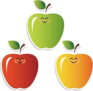 Apples Colorful Cut-Outs Sticker, Fall Classroom Décor, 50 Pcs Assorted Designs, Back-to-School Decoratio for Bulletin Board/Black Board Trim, Teacher/Student Use for Classroom/School Decoration