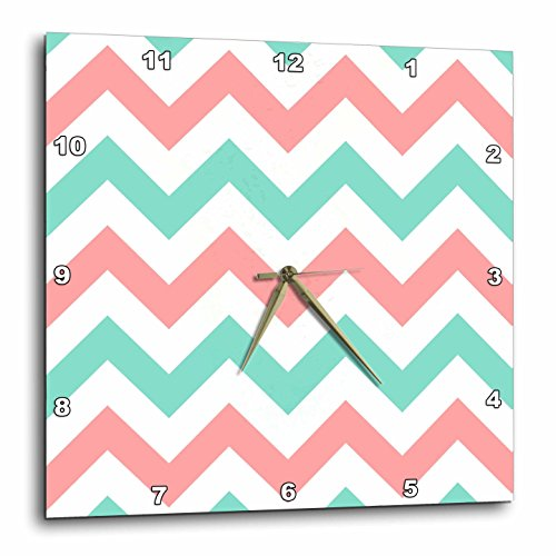 3dRose Coral Pink and TURQUOISE Chevron Zig Zag Pattern - Teal Zigzag Stripes - Wall Clock, 10 by 10-Inch (dpp_179801_1) (Pattern Teal Pink)