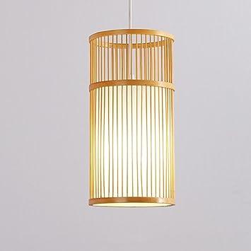 WEISHA Lámpara de techo cilíndrico de bambú Art Restaurant ...
