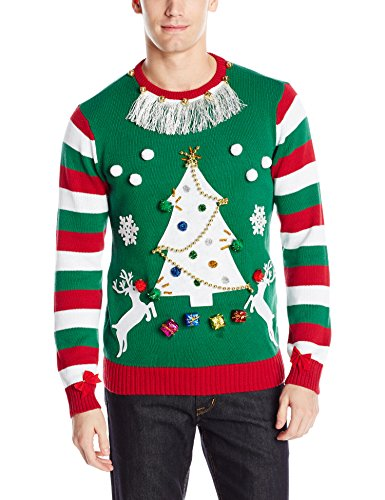Ugly Christmas Sweater Men's Multi Stripe Sleeve, Red Stripes, -