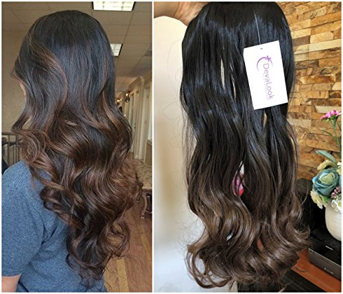 Full Clip - 3/4 Full Head Clip in Hair Extensions Ombre One Piece 2 Tones Wavy Curly DL (Natural black to chocolate brown)