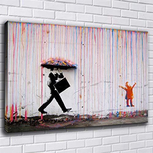 Rainman Poster - lihuaiart Banksy, Colorful Rain,Rainbow,Rain Man Poster Wall Art Home Wall Decorations for Bedroom Living Room Oil Paintings Canvas Prints 24x36inch-223 (Framed)