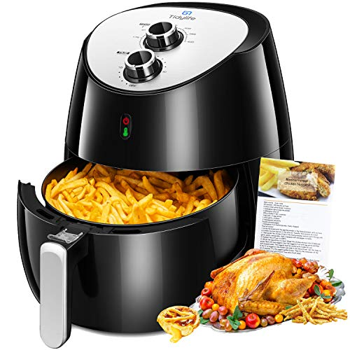 Air Fryer, Tidylife 5.8 Qt Air Fryer XL with Smart Time & Temperature Control, 1700W Power Air Fryer, Nonstick Basket, Auto Shut Off with 50+ Recipes