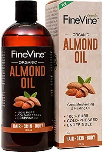 100% Pure Almond Oil - 16 oz - For Skin Moisturizer, Wrinkles, Massage, Anti-Aging and Baby Oil - Best Cold Pressed, Organic Carrier Oil.