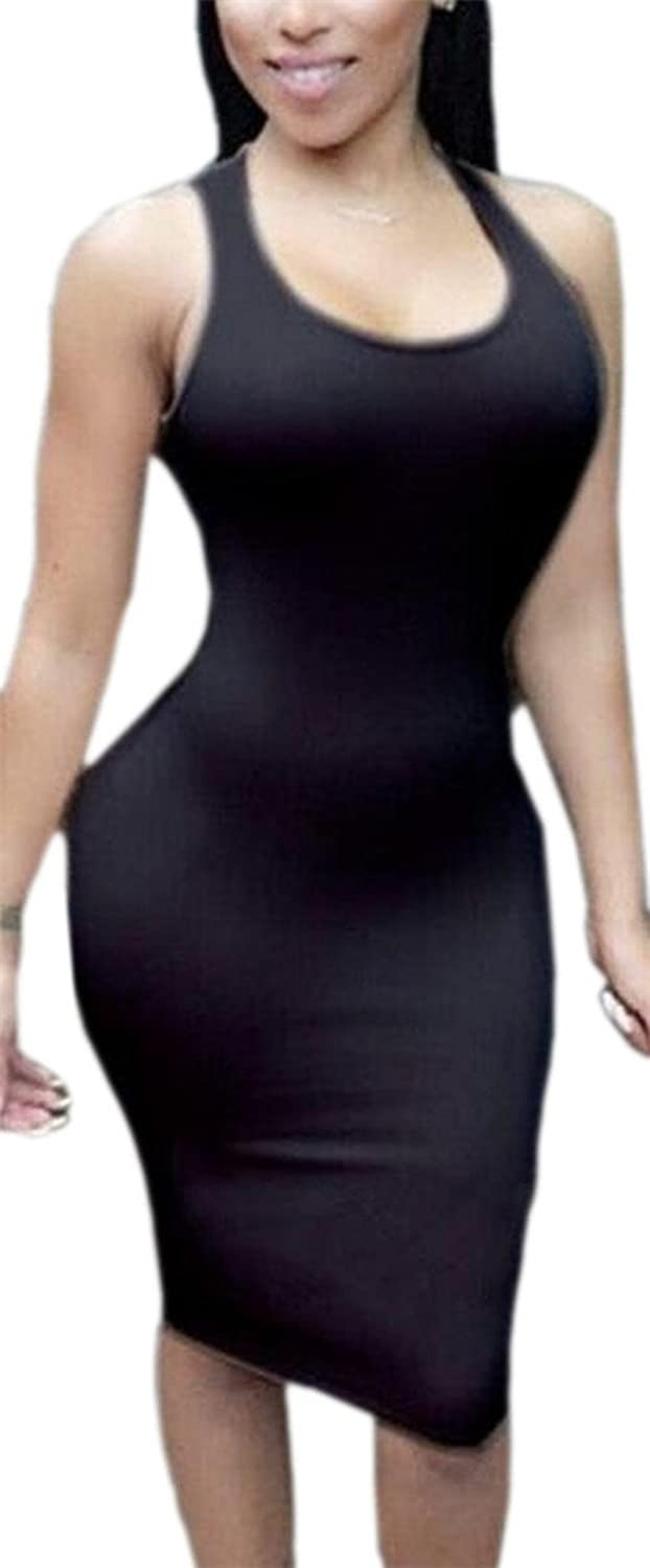 Smeiling Womens Solid Color Round Neck Halter Neck Low Back Package Hip Clubwear Dresses