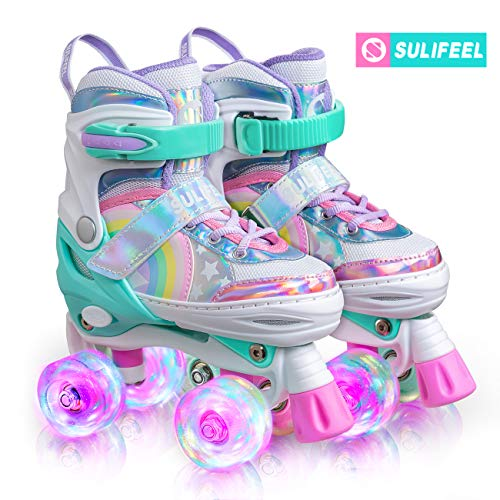SULIFEEL Rainbow Unicorn 4 Size Adjustable Light up Roller Skates for Girls Boys for Kids - Small(US 9-12)