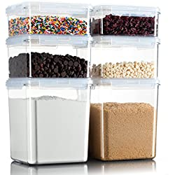 Komax Hikips Food Storage Containers for Dry Food & Baking Ingredients, Set of 6 - Durable Clear Tritan Material, BPA Free - Airtight, Leakproof, Locking Lids - Microwave, Freezer, Dishwasher Safe