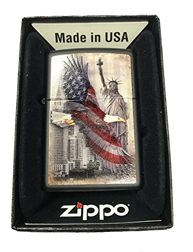 Zippo-Custom-Lighter-USA-Eagle-Statue-of-Liberty-Black-Matte