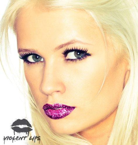 Violent Lips - The Magenta Glitteratti - Set of 3 Temporary Lip Appliques