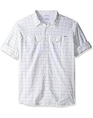 Men's Big-Tall Silver Ridge Plaid Long Sleeve Shirt, White Dobby, 2XT