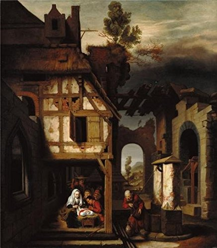 'Adoration Of The Shepherds, About 1660 By Nicolaes Maes' Oil Painting, 20x23 Inch / 51x58 Cm ,printed On Perfect Effect Canvas ,this High Definition Art Decorative Canvas Prints Is Perfectly Suitalbe For Kitchen Decor And Home Gallery Art And Gifts