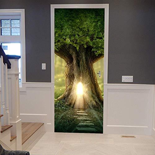 - ColorSpring 3D Tree Hole Door Decal Door Stickers Decor Door Mural Removable Vinyl Door Wall Mural Door Wallpaper for Home Décor(MT-026)