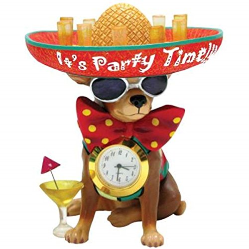 Chi Clock (WL SS-WL-13390 It'S Time To Party Chihuahua & Tequila Mini Clock,)