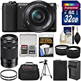 Sony Alpha A5100 Wi-Fi Digital Camera & 16-50mm (Black) with 55-210mm Lens + 32GB Card + Case + Battery & Charger + Tripod + Tele/Wide Lens Kit