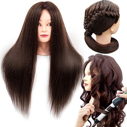 Cabeza practica peluqueria/ 60% pelo real/66cm/maquillada/C4