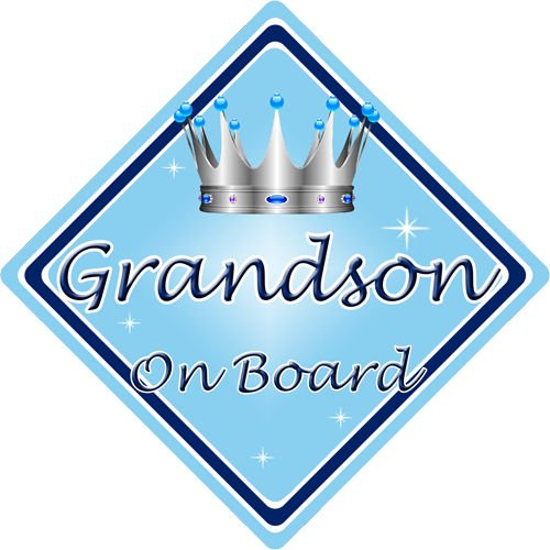 Non Personalised Child/Baby On Board Car Sign ~ Grandson On Board ~ L.Blue CarSignsDirect.com