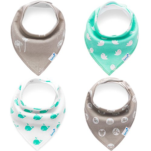 Baby Bandana Drool Bibs for Drooling and Teething - Hypoallergenic, Soft and Absorbent - 4 pack Bandana Bib Set for Boys and Girls by Bantik