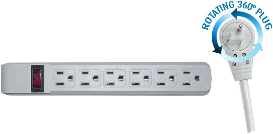 Surge Protector, Flat Rotating Plug, 6 Outlet, Gray Horizontal Outlets, Plastic, Power Cord 4 Foot
