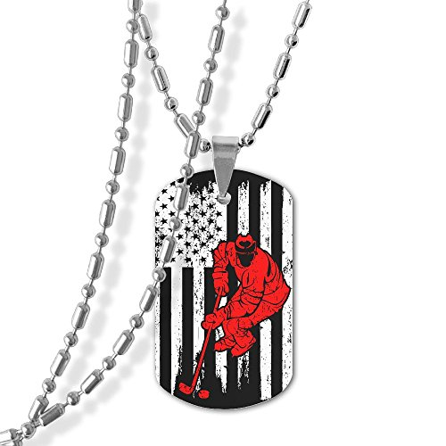 LeYue Hockey Player USA Flag Dog Tag Necklace Zinc Alloy Military Pendant Necklace Jewelry Gift