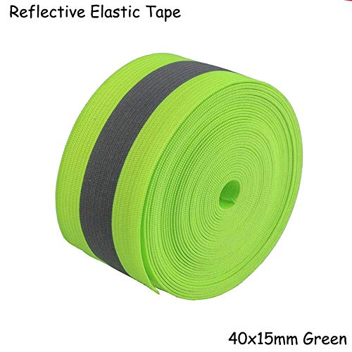 DalaB Fluorescent Green Safety Silver Reflective Elastic Tape Band Cord Belt Fabric Wide 40mmx15mm - (Size: 50meter) by DalaB (Image #6)