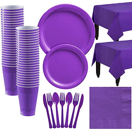 Party City Big Party Pack Purple Paper Tableware Kit and Supplies for 50 Guests, Includes Table Covers and More]()