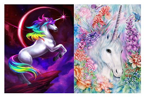2-Pack 5D Diamond Painting, Full Drill Unicorn Crystals Embroidery DIY Resin Cross Stitch Kit Home Decor Craft -