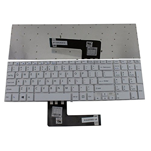 Sony Vaio Keyboard Layout (New Laptop Keyboard (without Frame) for SONY Vaio Fit SVF152C29M SVF-152C29M SVF152C29L SVF15E, US layout white color)