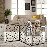 Cheap Hoovy Freestanding Metal Pet Gate: Foldable & Extendable Dog & Puppy Gate for Home & Office Use | Keeps Pets Safe | No Assembly Required | Portable & Durable Design (Metal Leaf Design)