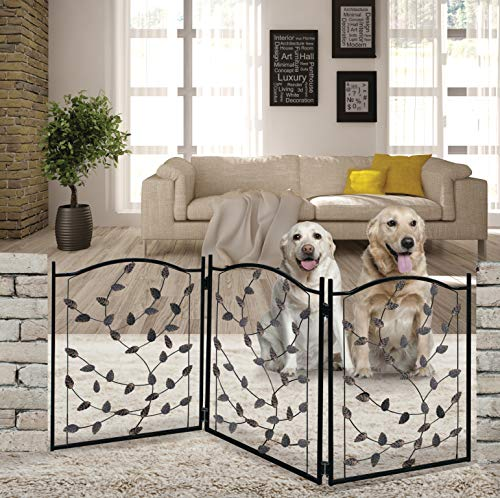 Hoovy Freestanding Metal Pet Gate: Foldable & Extendable Dog & Puppy Gate for Home & Office Use | Keeps Pets Safe | No Assembly Required | Portable & Durable Design (Metal Leaf Design)