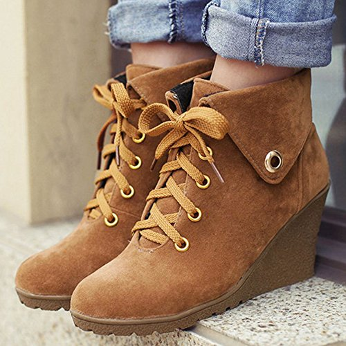 Boots Brown High Up Wedge Ankle Lace Heel Coolcept Fashion Women qYz4UUP