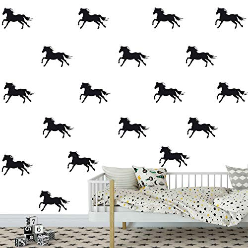 Melissalove 32pcs/Set Metallic Equestrian Horse Wall Stickers Vinyl Wall Decals Decor Kids Room Living Room Wallpaper Removable Mural SA525 (Black)