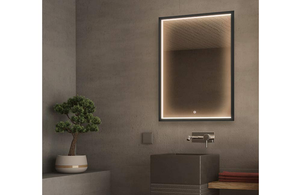 GetInLight LED Wall Mounted Lighted Vanity Mirror with Touch Sensor Dimmer Switch, 3000K(Soft White), ETL Listed, Damp Location Rated, IN-0405-5-24-36-3K