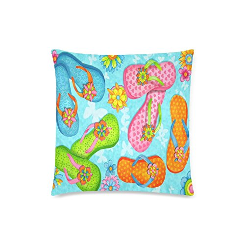 Summer Starfish Flip Flop on Beach Rectangle Sofa Home Decorative Throw Pillow Case Cushion Cover Cotton Polyester Twin Side Printing 18 x 18 inches ()