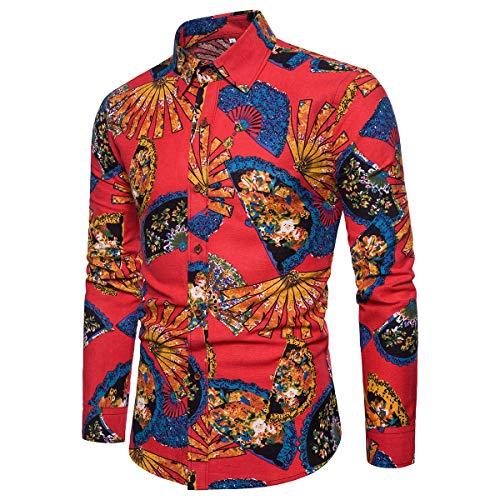 Rouge Manches Hommes Longues imprimer Chemise Homme Hawaiian D'été Couleurs Shirt Allthemen Variées qxwROBPnC
