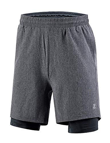 - GEEK LIGHTING Men's 2in1 Athletic Outdoor Shorts with Compression Lining(Gray,L)