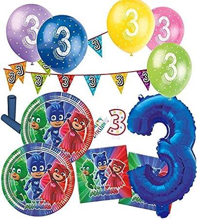 57 piezas 3. cumpleaños PJ Masks Pyjamahelden Party Deko Set ...