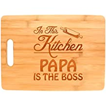 Father's Day Gift for Grandpa In This Kitchen Papa is the Boss Big Rectangle Bamboo Cutting Board