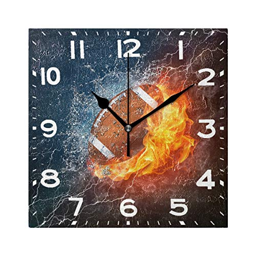 - Naanle 3D Magic American Football in Fire ans Water Print Square Wall Clock, 8 Inch Battery Operated Quartz Analog Quiet Desk Clock for Home,Office,School
