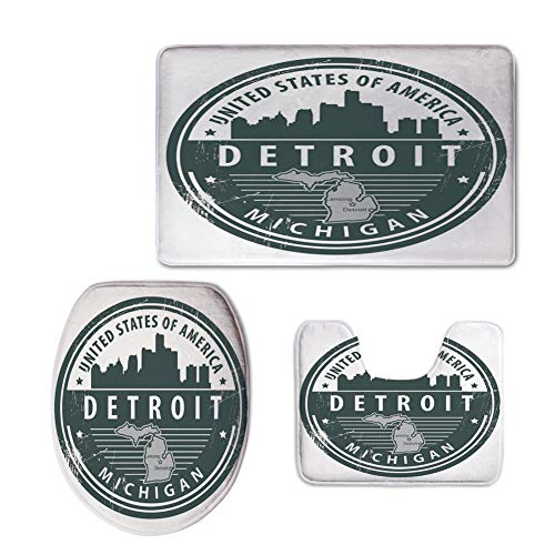 Fashion 3D Baseball Printed,Detroit Decor,Damaged Old Stamp of Michigan USA with City Map Location Tourism Icon Decorative,Black White Grey,U-Shaped Toilet Mat+Area Rug+Toilet Lid Covers 3PCS/Set