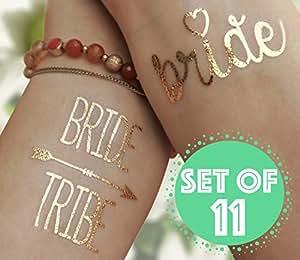 The BEST Bride Tribe Bachelorette Metallic Gold Temporary Flash Tattoos, Set of 11