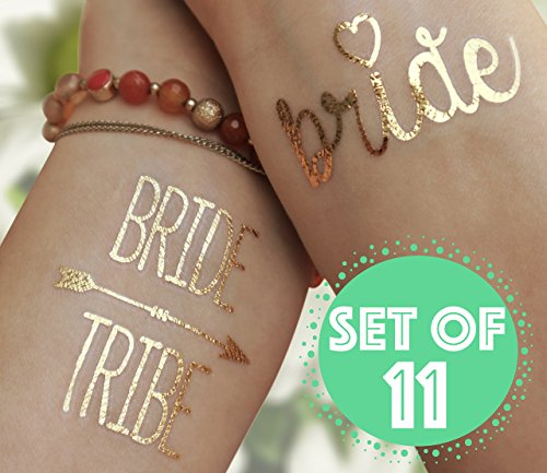 The BEST Bride Tribe Bachelorette Metallic Gold Temporary Flash Tattoos, Set of - Long For Sunglasses Face Skinny