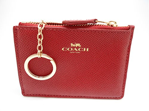 Coach Signature Leather Mini Skinny ID Wallet Key Pouch Logo (Red)