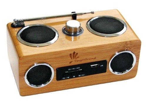 SwypeSound Mini Portable Bamboo Wood Boombox / Personal Spea